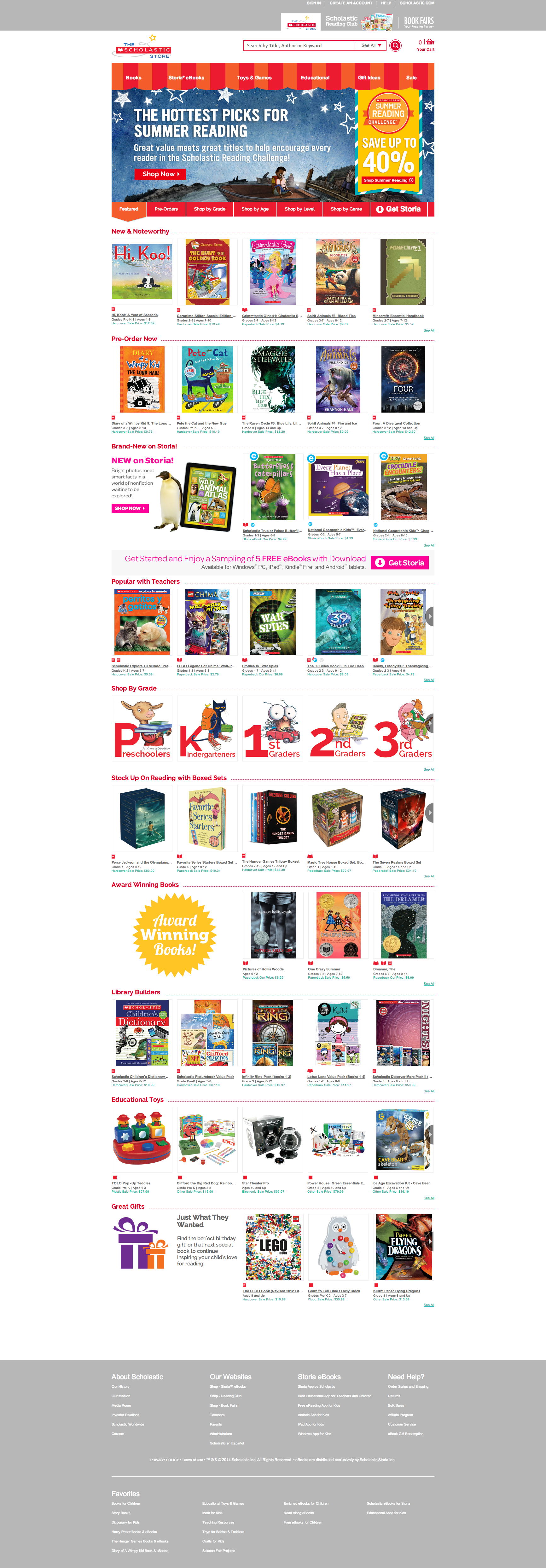 Example of Scholastic Store Homepage Hero with full page showing