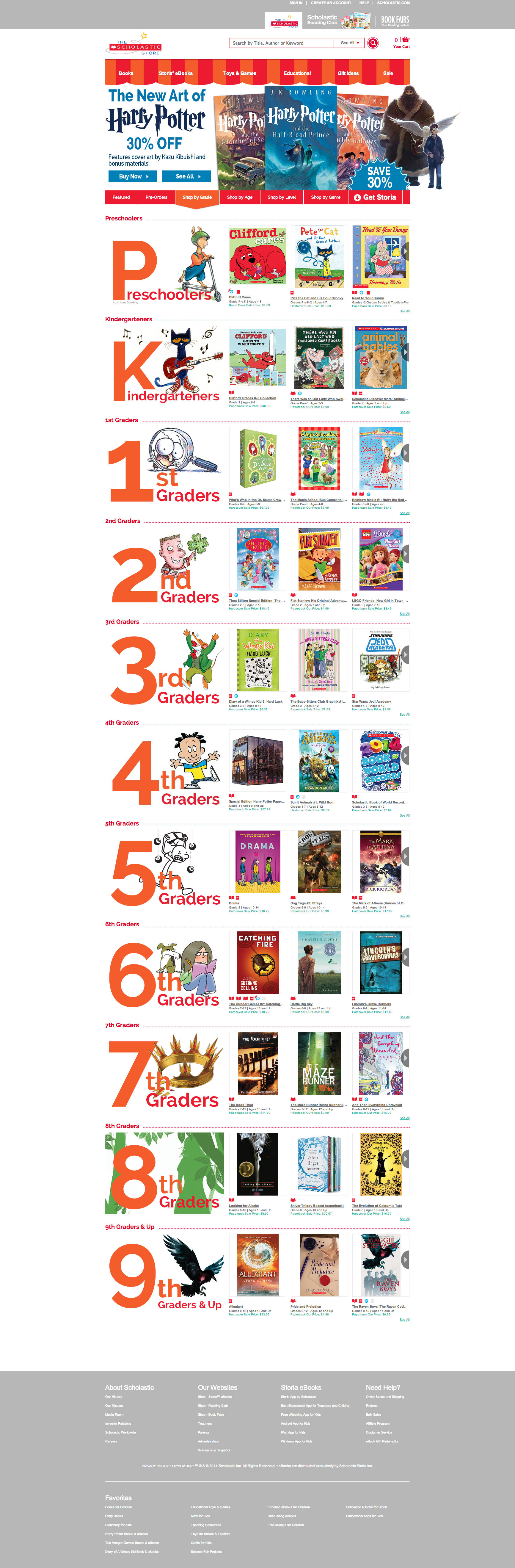 Example of Scholastic Store Homepage Hero, with full page, shop by grade showing.