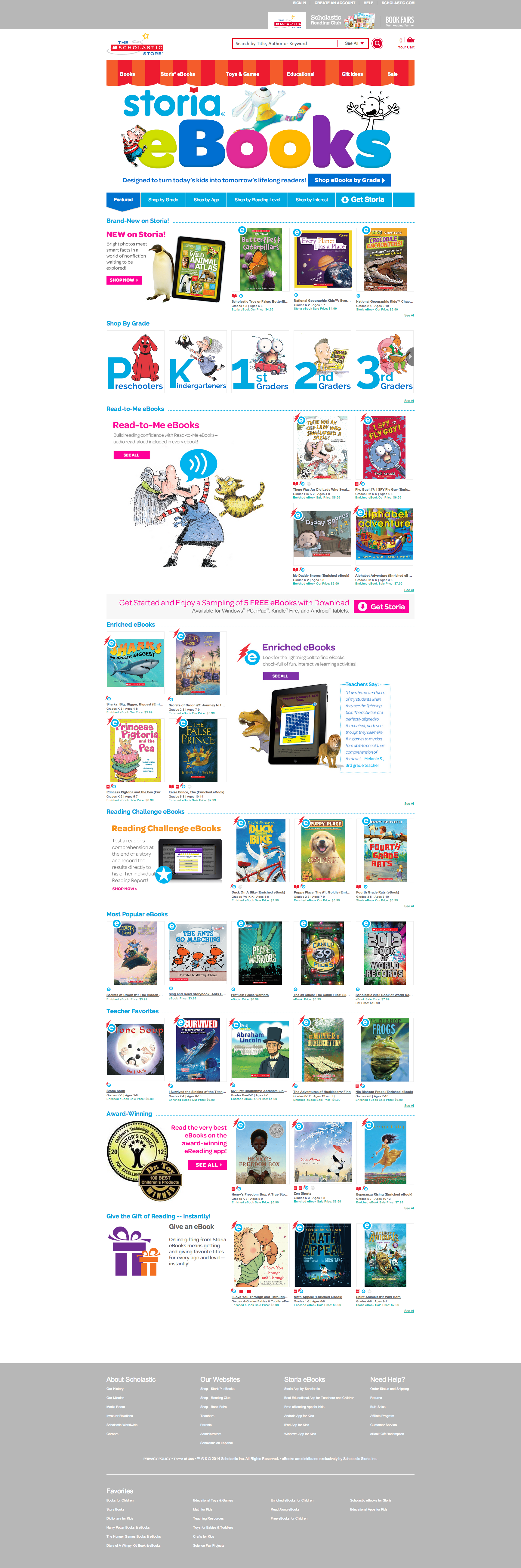 Example of Scholastic Store showcasing Storia eBooks homepage.