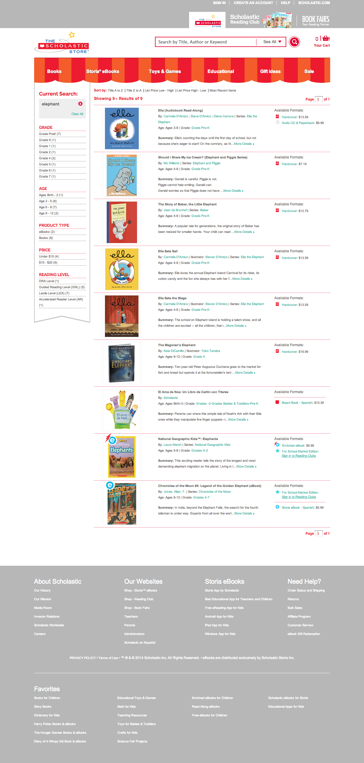 Scholastic Store Online search results page.
