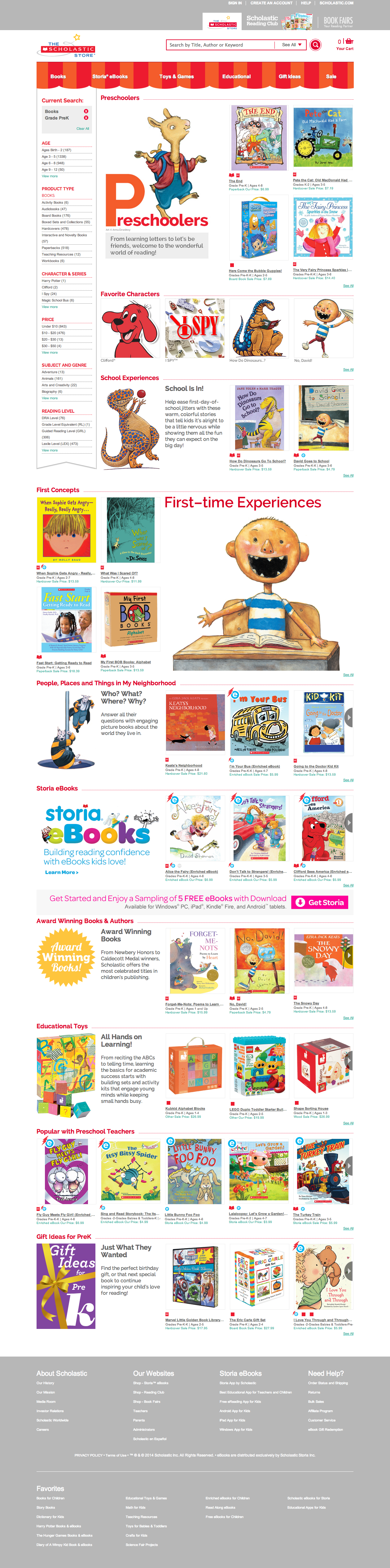 Example of Scholastic Store Grade page.