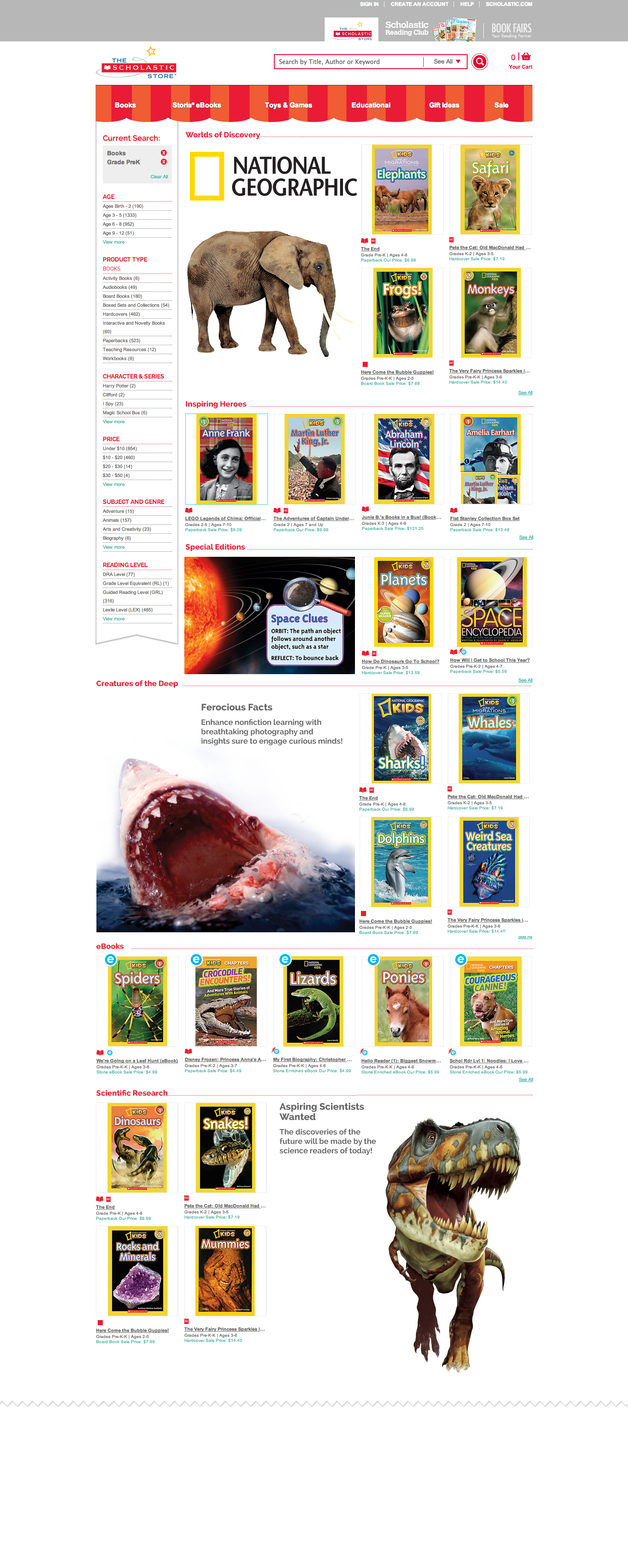 Scholastic Store Online character page.