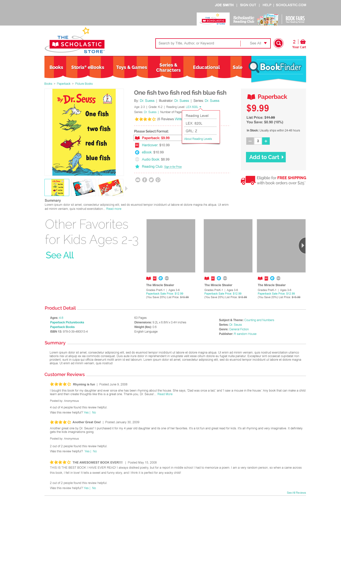 Scholastic Store Online Product detail page.