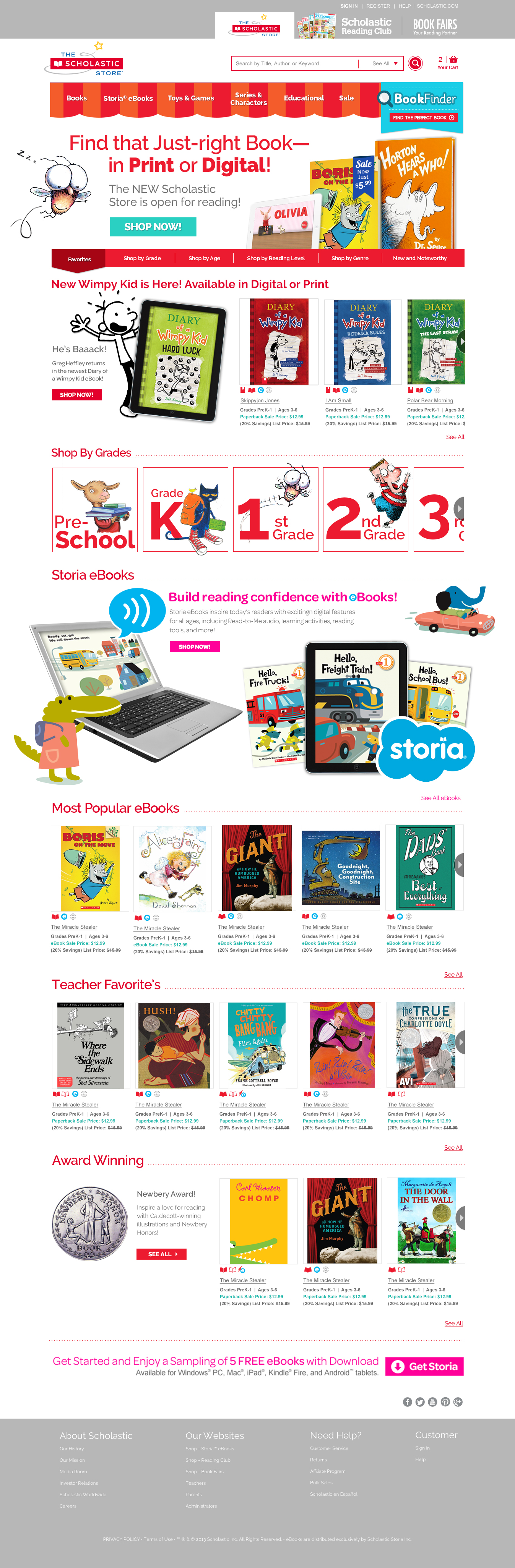 Example of Scholastic Store Homepage Conceptual phase.